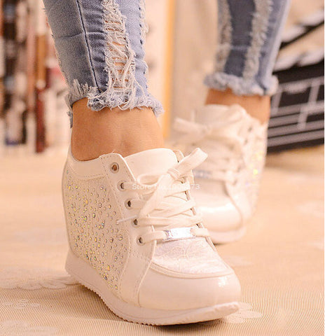 Black White Free Shipping Hidden Wedge Heels Fashion Women's Elevator Shoes