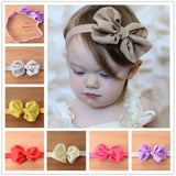 2016 10 Colors Chiffon Bowknot Baby Headbands Solid Color Girl Elastic Hair Bands Infant - Shopy Max