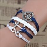 Free shipping Fashion Vintage Infinity Anchor Hook Artificial leather Leather Bracelet, Men Women Bracelets & Bangles Jewelry - Shopy Max