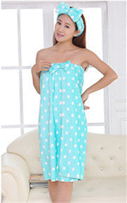 JJ196 High Quality Women's Cute Dot Bath Towel Set With Hair Band Bathrobe - Shopy Max