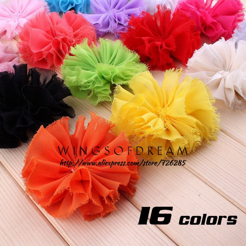 "(120pcs/lot)3"" 16 Colors V Ruffed Satin Shabby Flower For Decoration Classic - Shopy Max"