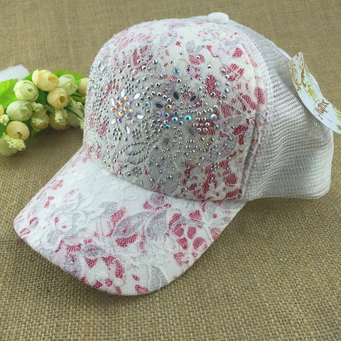 10 Colors Of Summer Outdoor Shading Cap Flower Pattern Rhinestone Pierced Mesh Baseball