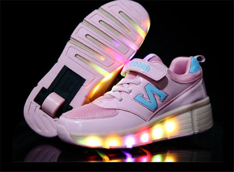 Brand New Boy's Girls Children Heelys Led Shoes For Kid's Breathable Sneakers