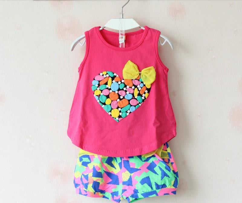 2015 summer new children's clothing Girls set love print female child sleeveless