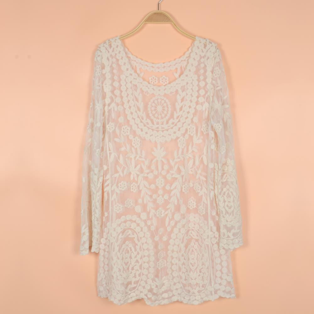 Commemorative Bell Sleeve Dress Casual femininos Crochet Floral Lace embroidery dresses