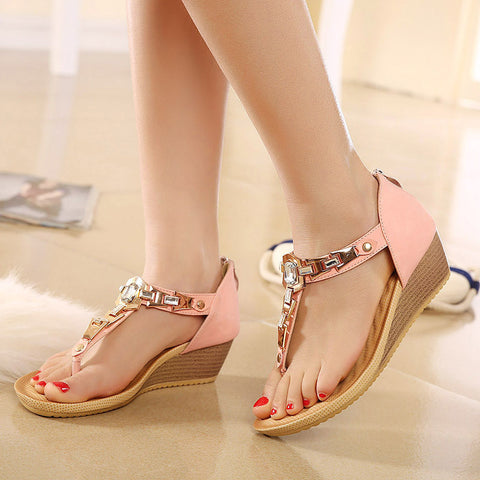 2015 New Women's Thong Sandals Wedges Shoes Summer Diamond