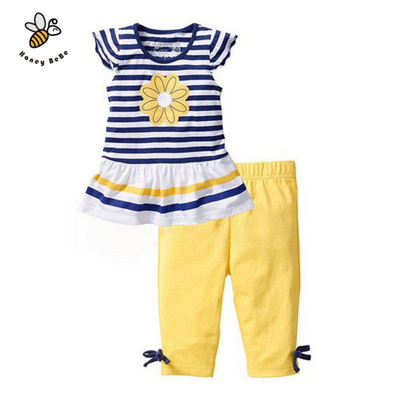 Summer Flower Girls Clothing Sets Baby Kids Clothes Suit Striped Short Sleeve T-shirt + Pants Girls Clothes Childrens Clothing