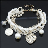 Lovely hollow out heart the coin pearl multielement weave multilayer bracelet women's bracelets & bangles