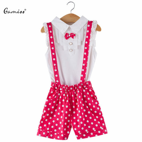 Cute Summer Baby Girls Suspender Trousers Sleeveless Bow Tie Petals