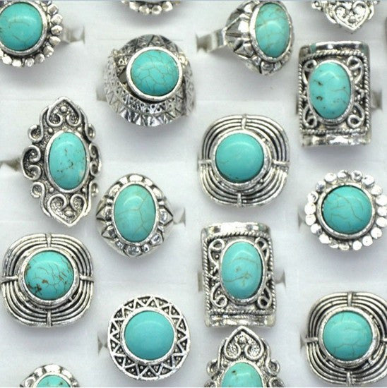 10pcs Wholesale Antique Silver Plated Vintage Adjustable Turquoise Stone Rings - Shopy Max