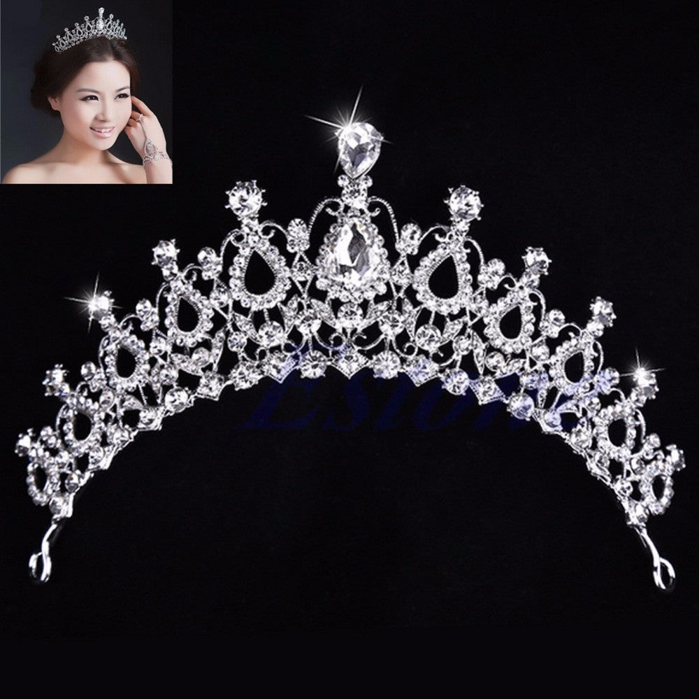 Free Shipping Stunning New Wedding Bridal Princess Crystal Prom Hair - Shopy Max