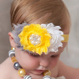 1pcs new cute Baby 3 Flower Headband Newborn baby girls Headwear Pearl hair band Kids hair accessories H2