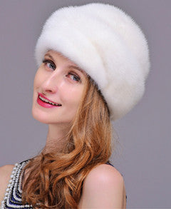 HM012 Real genuine mink  fur hat  winter women's warm caps whole piece mink fur hats