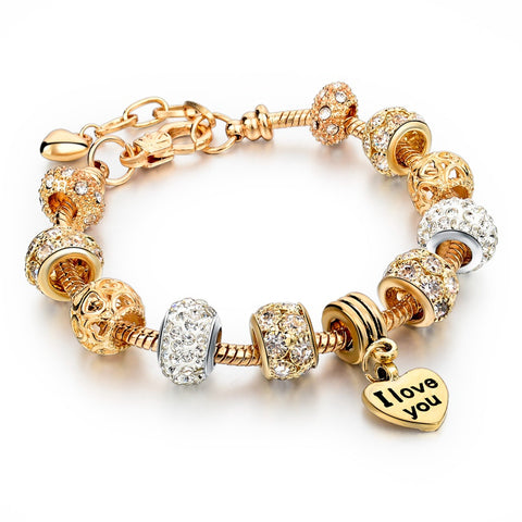 2015 Best Gift Gold Love Heart Charm Bracelet Gold Plated Snake Chain Shine&Hollow Beads Strand Bracelet For Women SBR150074