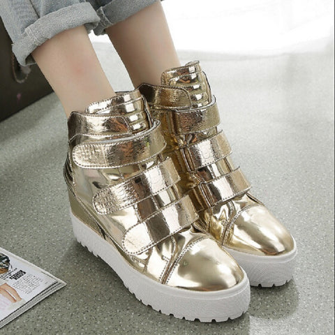 New 2015 Autumn Fashion Shiny Leather Velcro Women's Platform Shoes Sneakers For Women Gold Sliver Pink Wedge Sport Casual Shoes