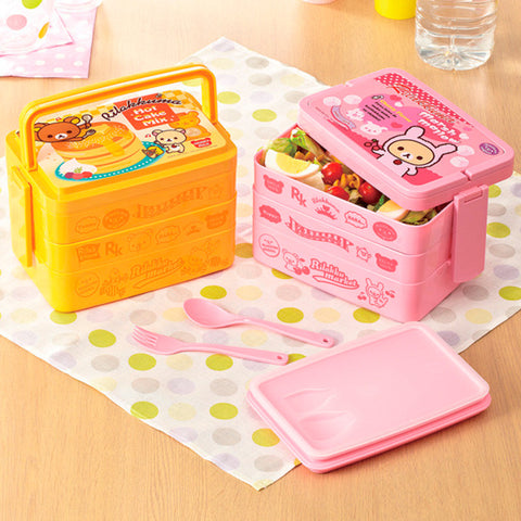Children Gifts 2570ml 3 Layer Cute Cartoon Lunch Box Food Fruit Storage Container