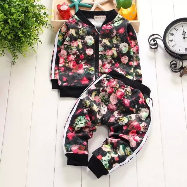 New Spring Autumn Tracksuit Girls Sports Suits Kids Clothes Zipper Sweatshirt Jogging