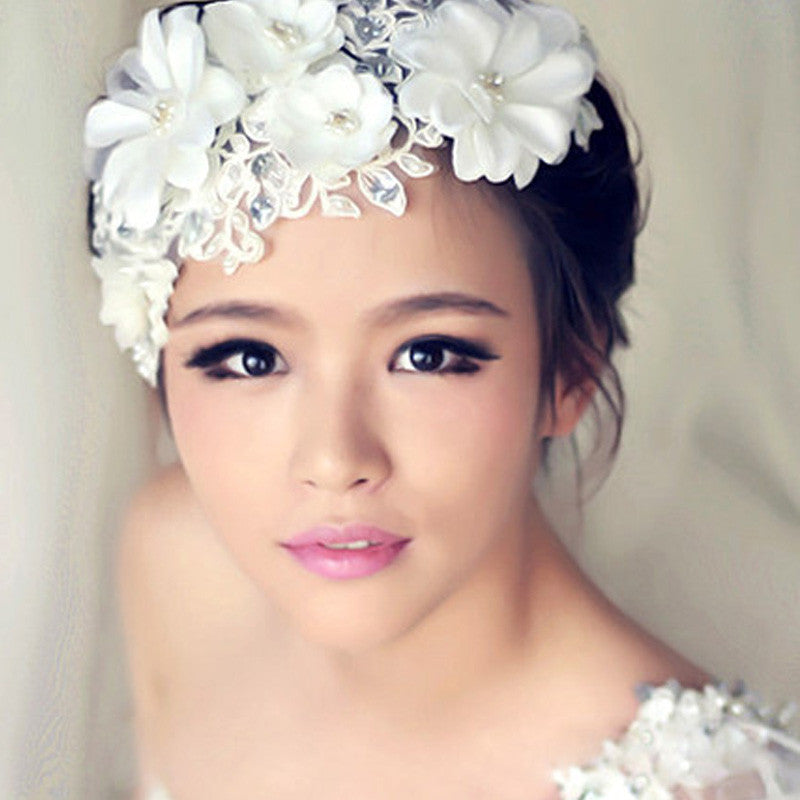 Women Wedding Lace Flower Frontlet Handcraft Bridal Hair Accessories Pearl Hair Jewelry