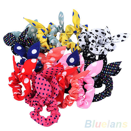 10Pcs Rabbit Ear Hair Tie Bands Accessories Japan Korean Style Ponytail Holder 2MWR 4PZ8 - Shopy Max