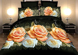 SUPER CHEAP NEW 3D ROSE FLOWERS BEDDING SET 4PC DUVET (DOONA/QUILT) COVERS+FLAT SHEET+PILLOWCASE QUEEN SIZE FREE SHIPPING #008 - Shopy Max