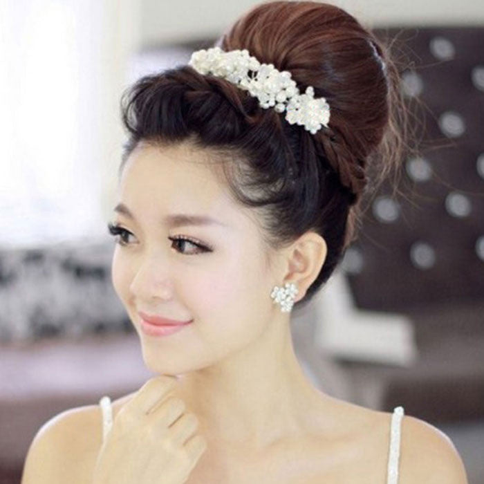 Free Shipping Han edition hair White pearl crystal bride headdress by hand Wedding dress - Shopy Max