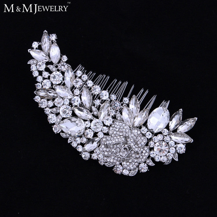 Luxurious Leaf Sharp Czech Rhinestone Bridal Hair Combs Hair Accessories Wedding Hair Jewelry - Shopy Max