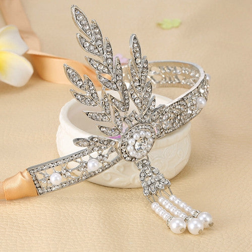 1pc Bridal Great Gatsby 1920s Hair Band Vintage Style Alloy Headpiece Pearls Charleston Party - Shopy Max