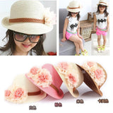 2016 Hot Cute Flower Decorate Baby Girls Children Hats Sun Beach Caps