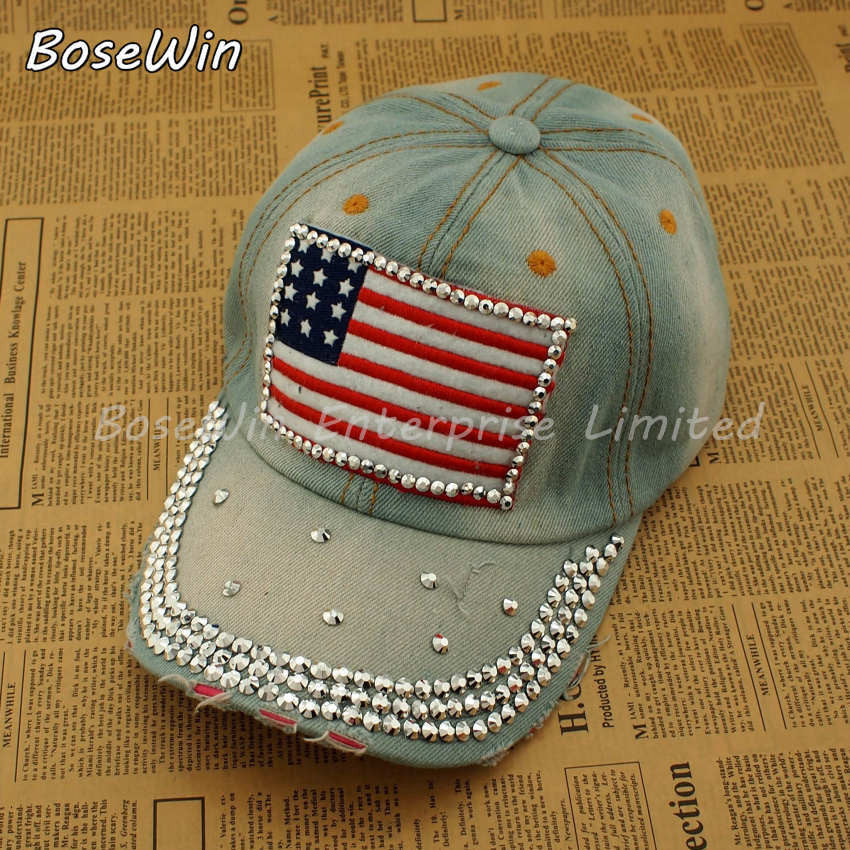 Hot Adjustable Sport Hat Fashion Jeans Accessories Rhinestones American edition Women Baseball Caps H010