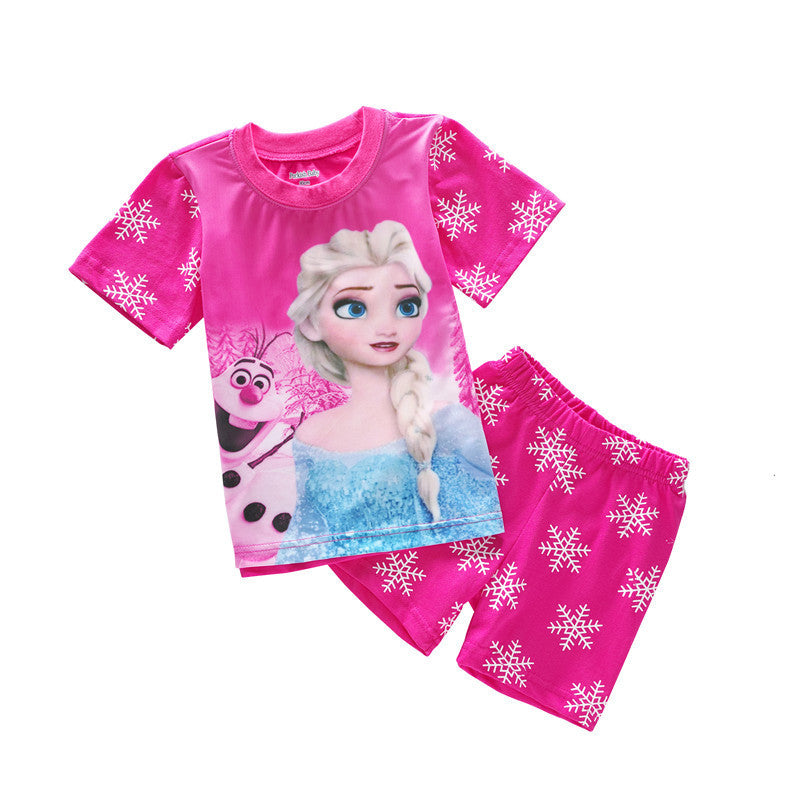 Summer 2016 explosion model girls cartoon pajamas set short-sleeve T-shirt + short 2piece suit for kids
