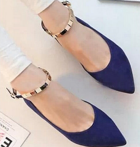 Fashion 2015 women's 35-39  single shoes flat heel pointed toe plain women's plus size shoes