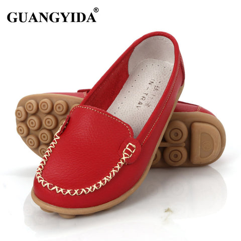Women genuine Leather Shoes Slip-on Ballet women Flats Comfort