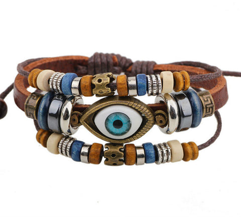 BA172 Wholesale Handmade Color Turkish Eye Leather Adjustable Bracelet Wristband Jewelry Bijouterie Unisex Girls Woman