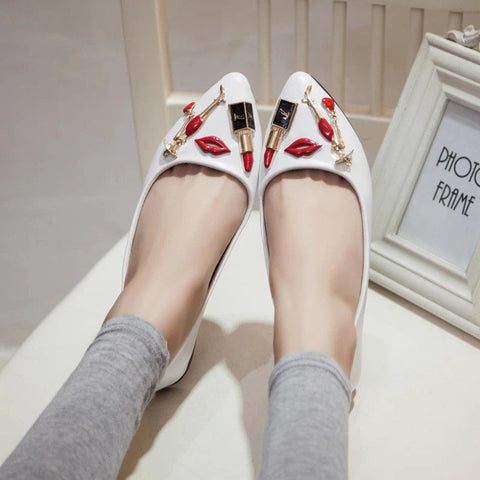 Women Shoes Spring 2015  Lipstick Pointed Toe Flats Soft Casual Boat Shoes KJ077