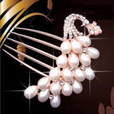 Bridal Tiara Comb Peacock Inserted Five Tooth Pearl Hairpin Hair Jewelry Accessories