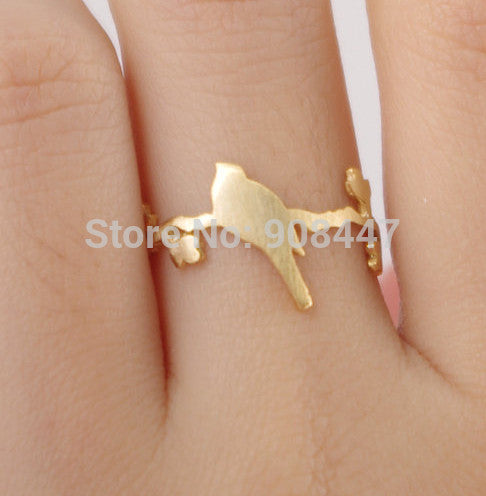1 PCS-R99 hot sale Cute bird on leaf branch ring,animal plant ring -Free shipping over $10 - Shopy Max