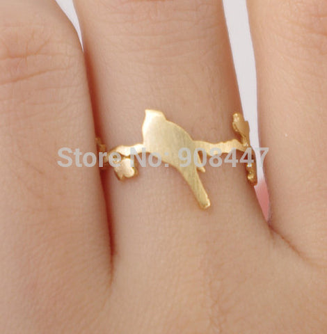 1 PCS-R99 hot sale Cute bird on leaf branch ring,animal plant ring -Free shipping over $10
