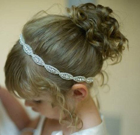 (2pcs/lot) Chic Baby Headbands With Rhinestone Applique Elastic Crystal Hairbands Girl Wedding/Waist/Corsage