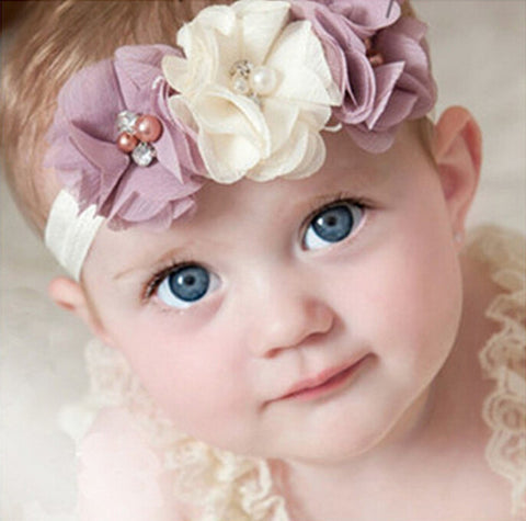 1 Pieces Newborn Baby Headband Chiffon 3 Flower Pearl Diamond with