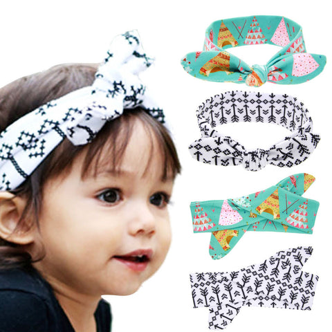 1 PC New Cool Cotton Cute Baby Headband Elastic Node Print tan Disassemble