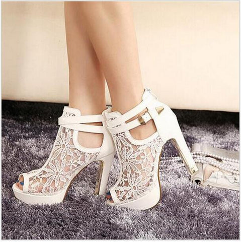 2016 new sexy high heels Lace Women Platform Pums Sandals White Mesh