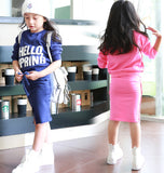 Teenage Girls Clothing Sets 2015 Autumn Children Girls Long Sleeve Sweatshirt & Straight Skirt 2pcs Girls Back to School Outfits - Shopy Max