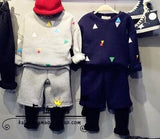 2016 spring baby boys girls fashion clothing sets children rhombic printed suits kids pullovers