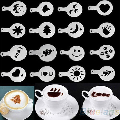 16Pcs/set Fashion Cappuccino Coffee Barista Stencils Template Strew Pad Duster - Shopy Max