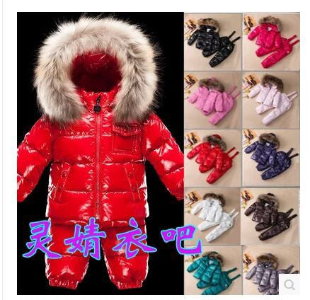 2015 new winter Russia girls boys down clothing sets kids raccoon fur