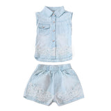 Children Clothing Sets For Girls Summer Sleeveless Denim Lace Tops