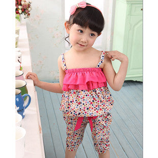 Hot Children Summer Clothing Sets Baby Girls Spaghetti Strap leopard Tops + Casual Harem Pants For 2-10Y Kids Bohemia Beach Suit