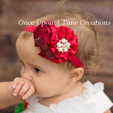 Baby Girls Flower Headbands Rose Pearl Headwear Kids Hair Accessories 2015 New Fashion Style Hot Sell  W095 - Shopy Max