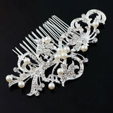 New Fashion Pearl Crystal Bridal Rhinestone Hair Clip Claw Comb Pin For Women Barrette Wedding Headdress - Shopy Max