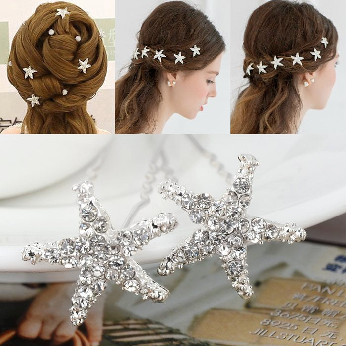 20Pcs Wedding Bridal Bridesmaid Crystal Starfish Rhinestone Hair Pins Clips Women